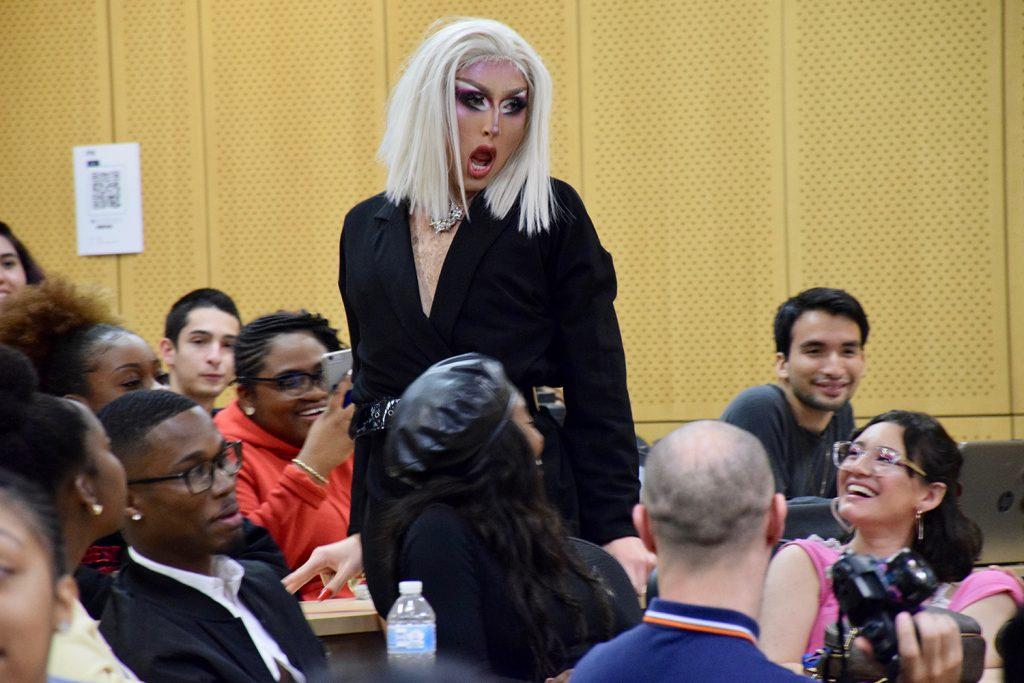Drag queen performing