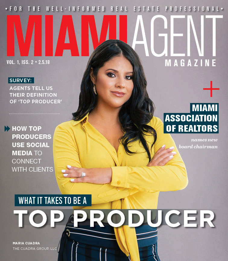 Maria Cuadra on the cover of Feb. 2018 issue of Miami Agent Magazine