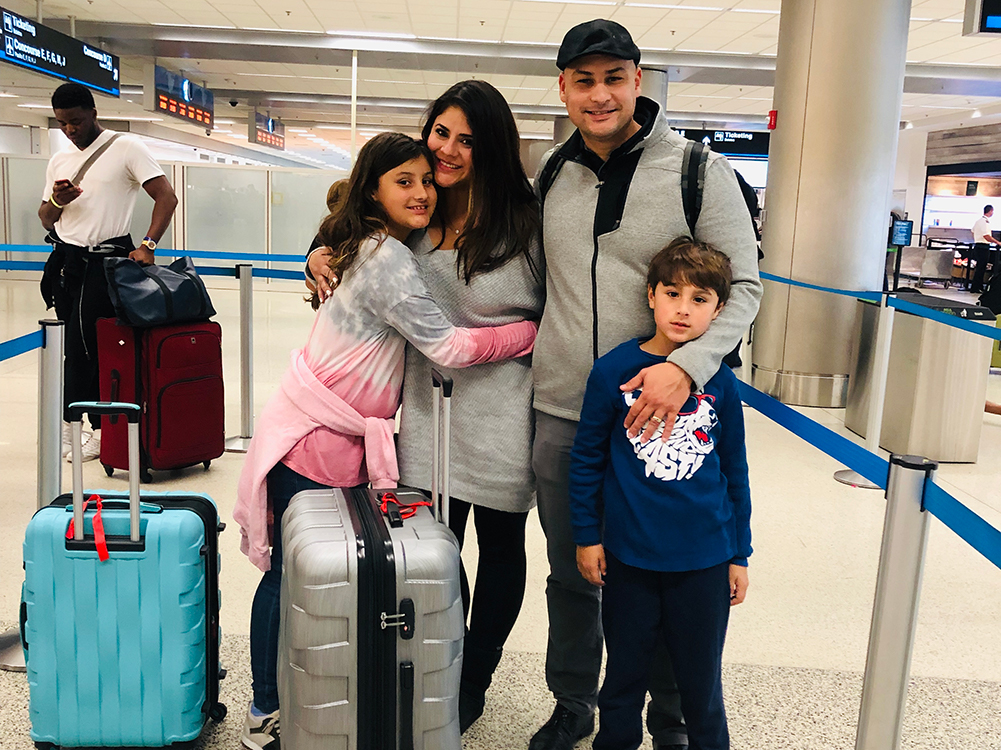 Cuadra and family at the airport