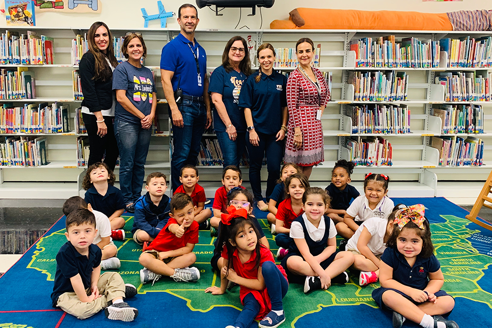 Group of students and teachers at Jumpstart Read for the Record event