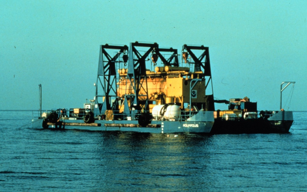 Aquarius loaded on the Launch-Recovery-Transport Barge prior to initial deployment in the Florida Keys.