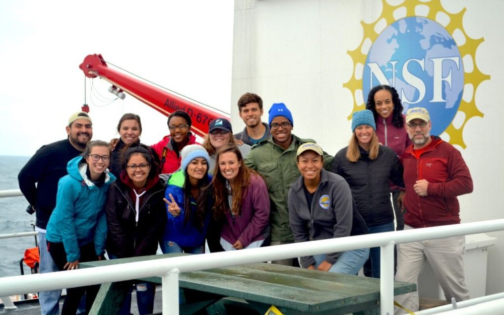 students aboard a ship