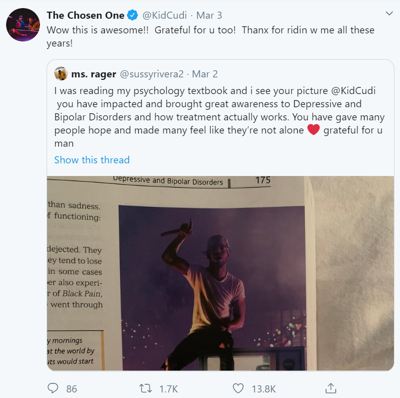 """Kid Cudi's tweet reads """"Wow this is awesome!! Grateful for u too! Thanx for ridin w me all these years!"""