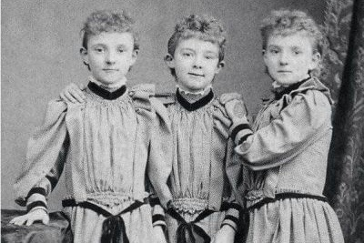 old photograph of triplets