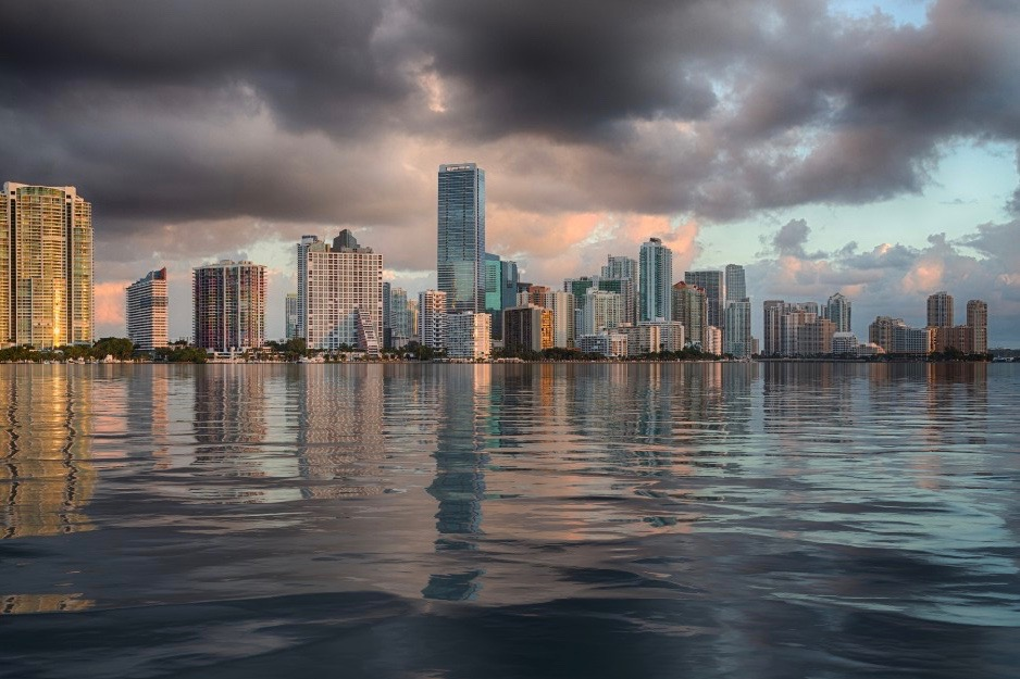 skyline of miami from sea