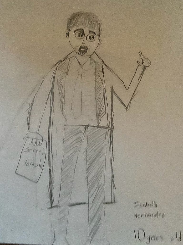Isabella's drawing of a scientist - man in lab coat