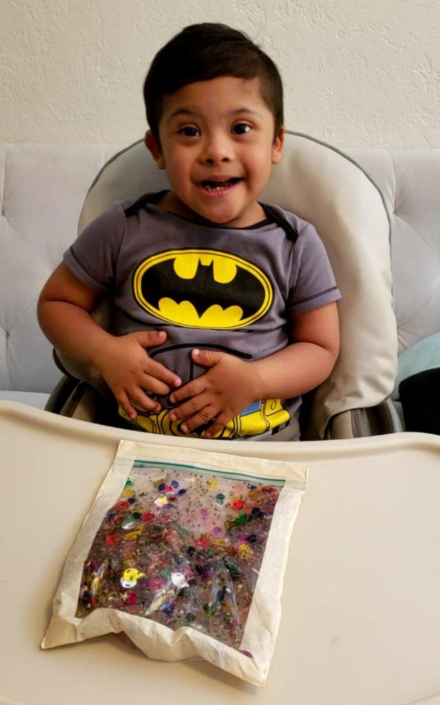 Child with sensory bag