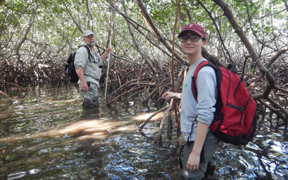 Samantha Lamosa wading in a mangrove forest with Kevin Whelan