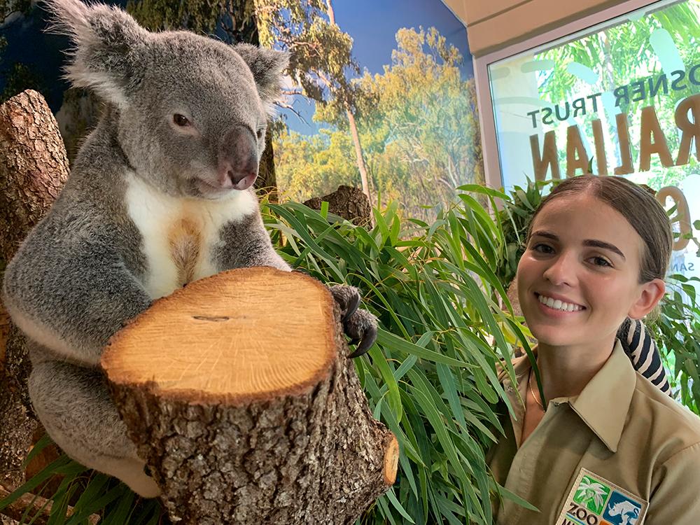 Acosta with a koala