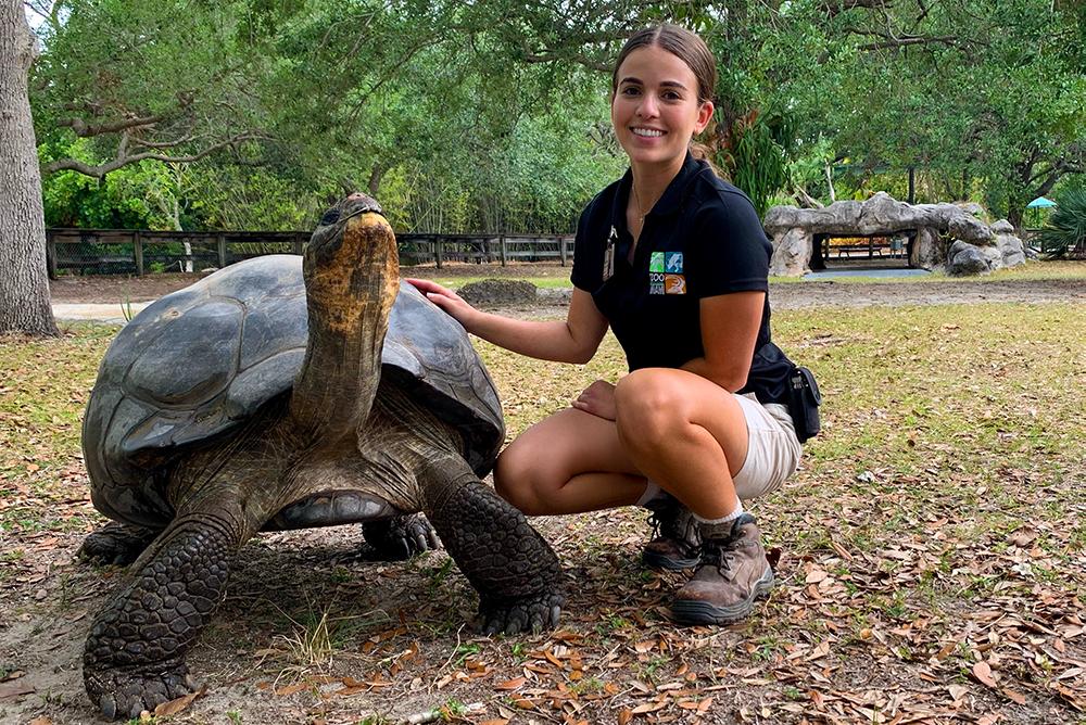 Acosta with tortoise
