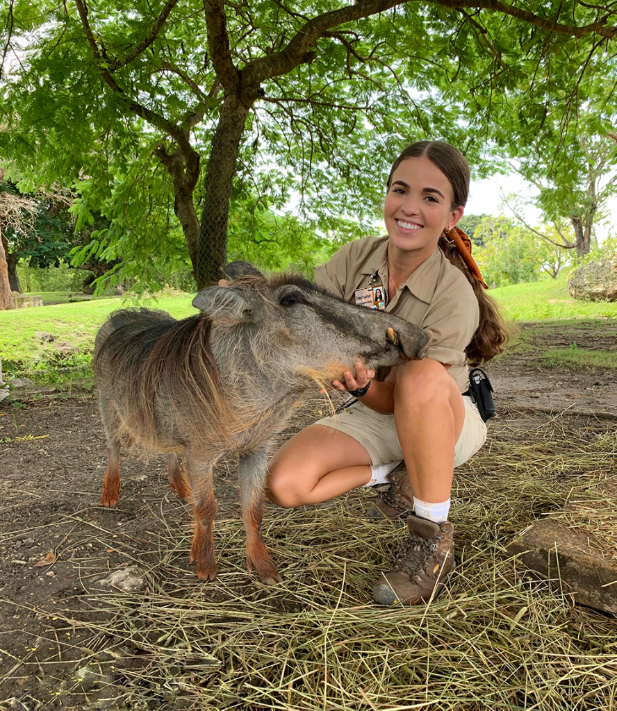 Stephanie Acosta with animal at the zoo