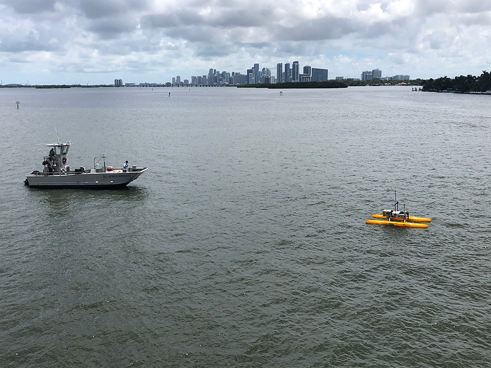 Researchers out on the water