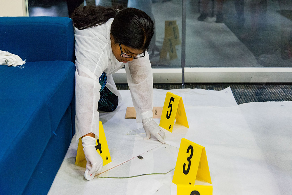 Student at Mock Crime Scene