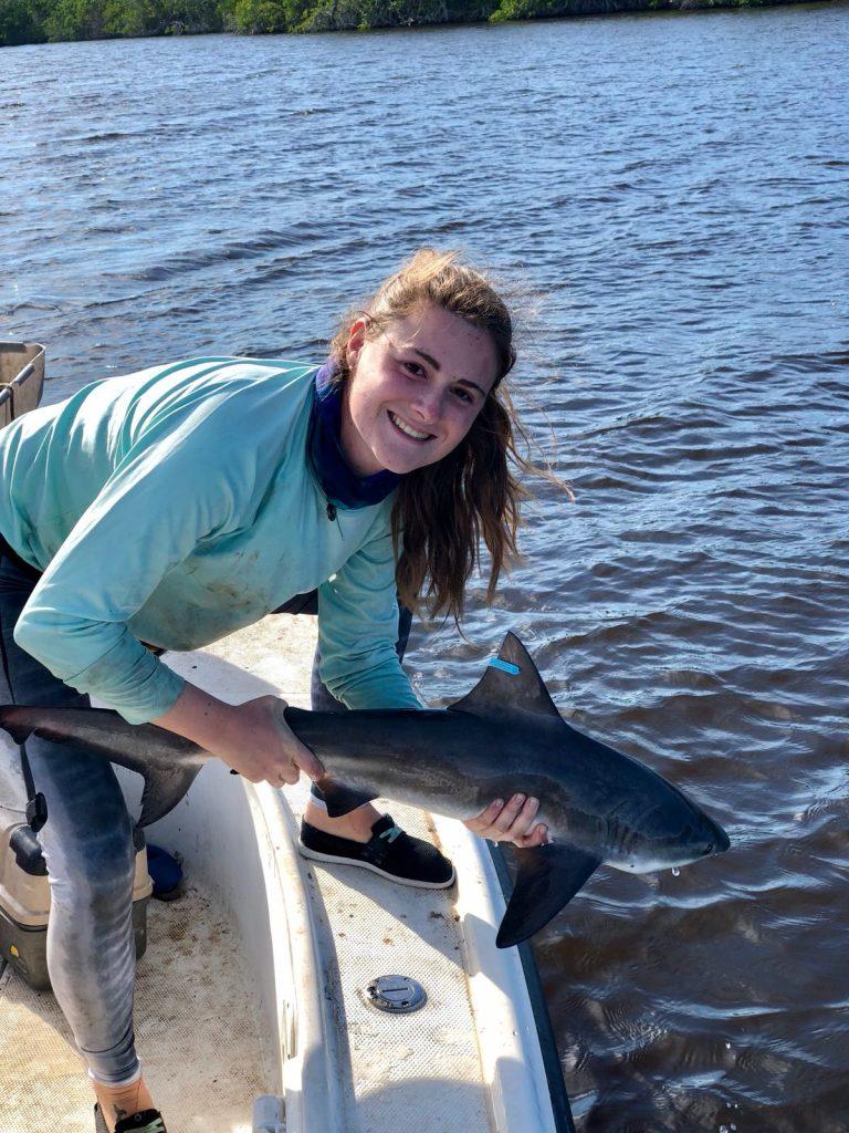Laura Garcia Barcia holding shark