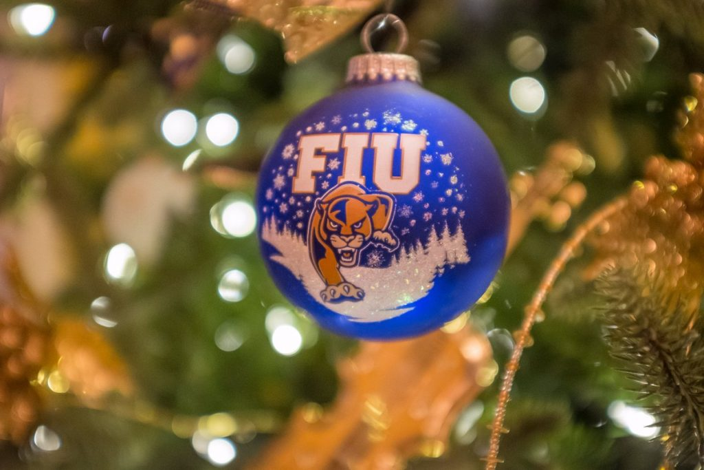 FIU holiday ornament on tree