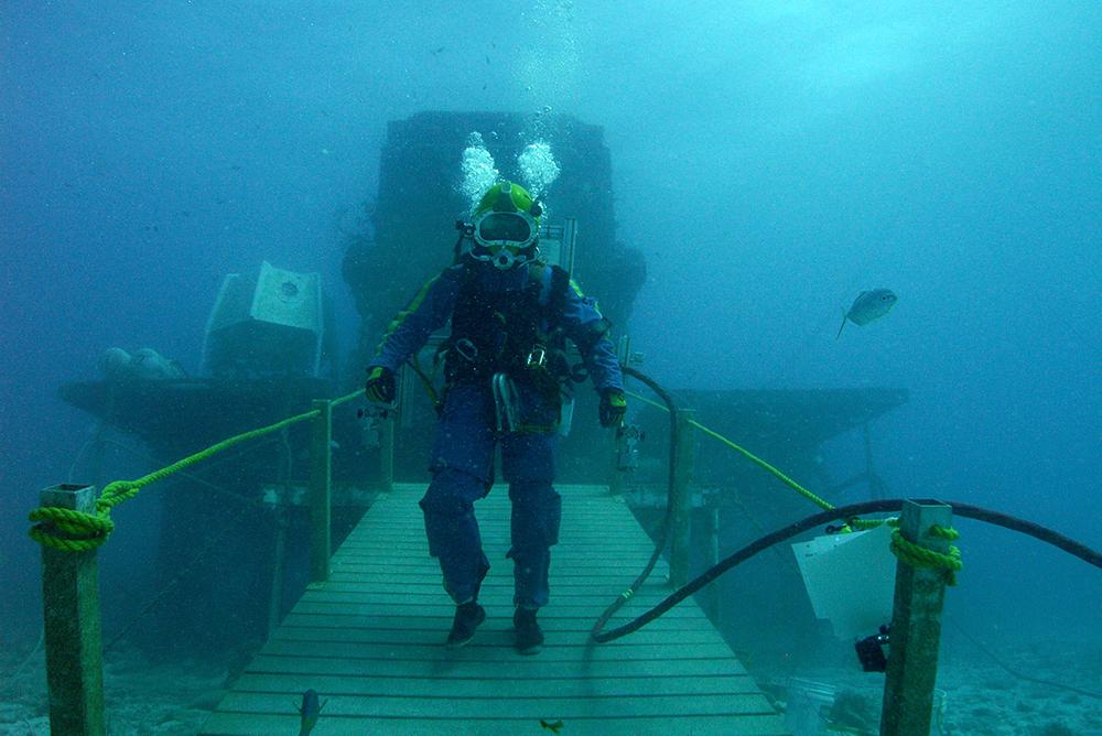 Diver walking on bridge under water