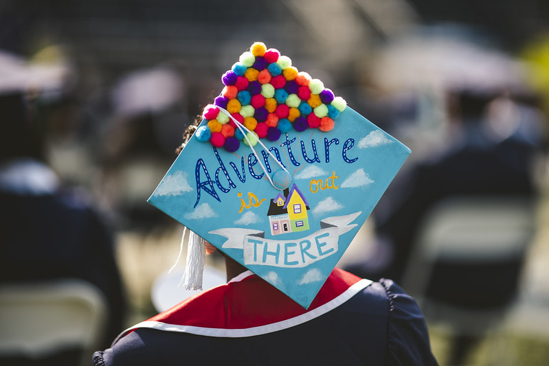 adventure is out there grad cap