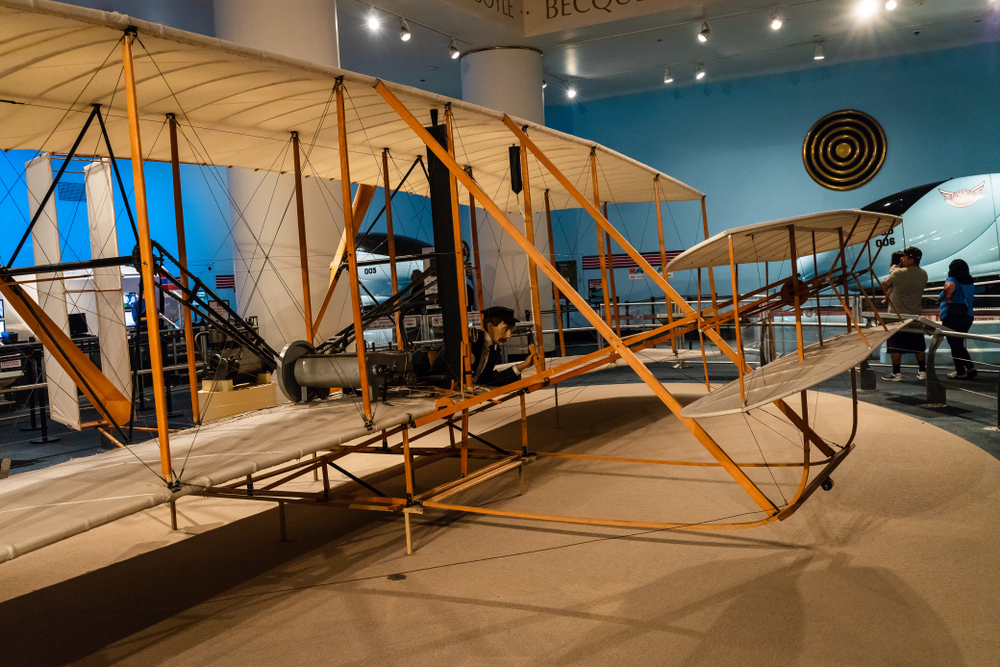 The Museum of Science and Industry features a replica version of the Wright Flyer that the originally built in 1903 by the Wright Brothers.