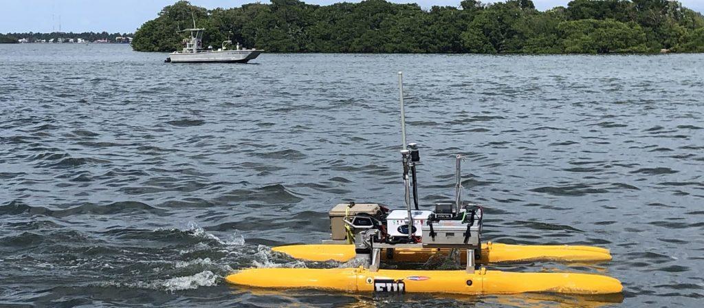 FIU's autonomous surface vessel surveys Biscayne Bay near Morningside Park