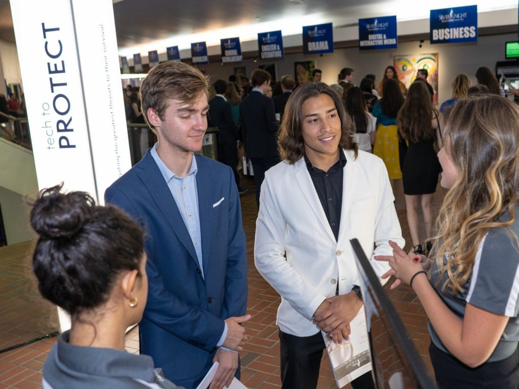 Students educate on FIU programs at the Silver Knight Awards.