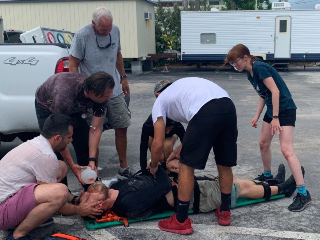 Students train through an emergency scenario.