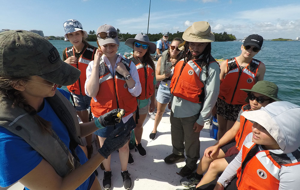 students looking at findings on boat