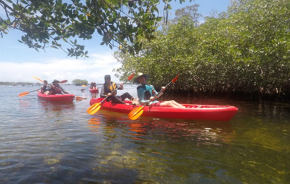 students on kayak