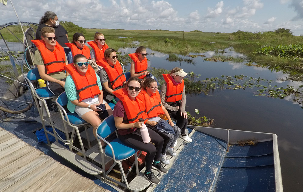 Students on airboat